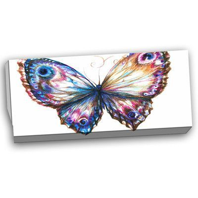 DesignArt Isolated Butterfly Animal Graphic Art on Wrapped Canvas Size:
