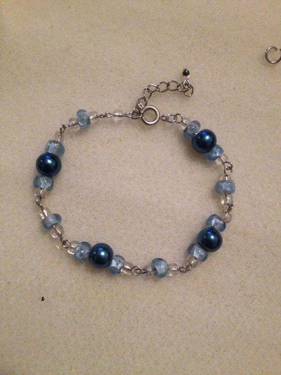 Blue hand crafted bracelet
