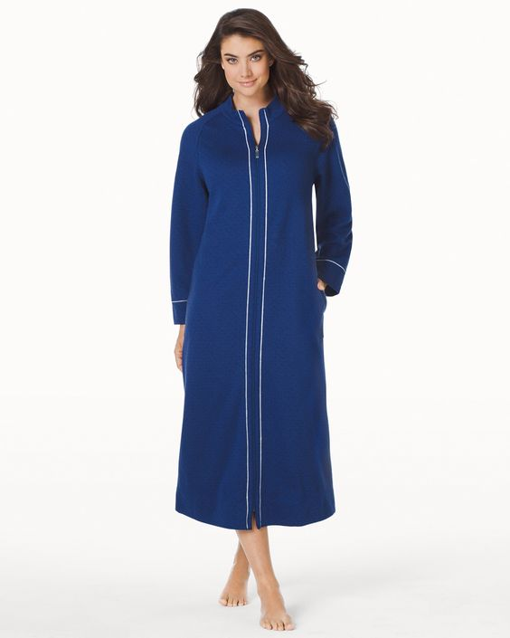 Soma Carole Hochman Quilted Long Zip Robe Navy