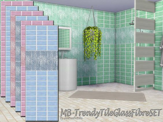 MB-TrendyTileGlassFibreSET, classic elegant ceramic tile set,  with large or small fibre glass tile deco part, and one matching ceramic tile full wall,  come in 3 different colors and 3 wall...