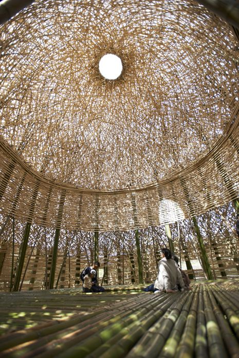 "Photo: Kimito Takahashi. ""Light of Shodoshima"": giant dome constructed of 5,000 island-grown bamboo trees, and illuminated at night by LEDs.:"