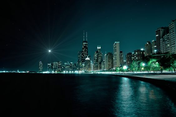 """""""Chicago at night"""" by Bart Palka, via 500px."""