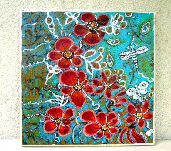 peinture moderne jardin d 39 orchid es rouge rose acrylique. Black Bedroom Furniture Sets. Home Design Ideas