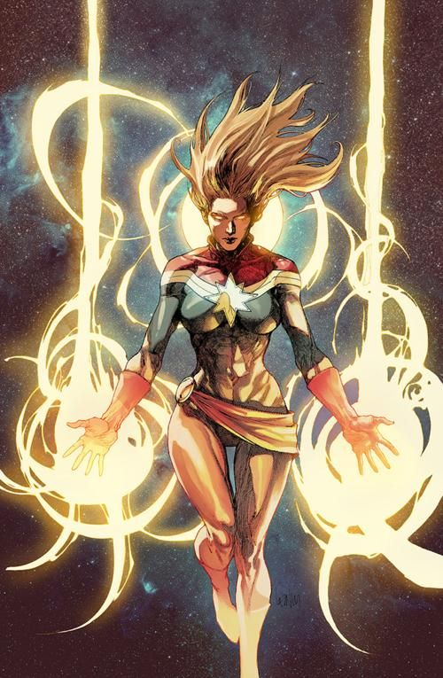 Carol Danvers (Earth-616) grew up with a contractor father who believed in hard work. She dreamed of becoming an astronaut. At 18 she joined the Air Force. Later, becoming the youngest security captain in NASA's history, she became embroiled in the interstellar alien Kree Empire. Carol was knocked into a damaged Kree Psyche-Magnitron, altering Carol's genetic structure and effectively making her a half-Kree superhuman.