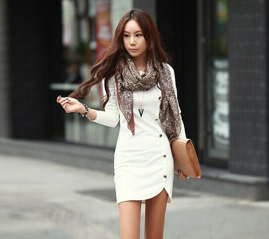 2014, mujeres primavera vestido tejido de algodón otoño vestidos de botón manga larga slim ropa