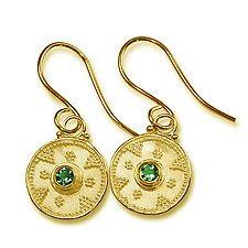 Round Granulated Earrings by Nancy Troske (Gold & Stone Earrings)