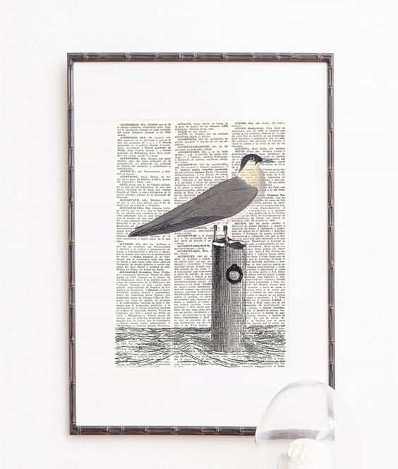 Print on Dictionary Paper SEAGULL Wall Art Prints by ElsieVonCraft