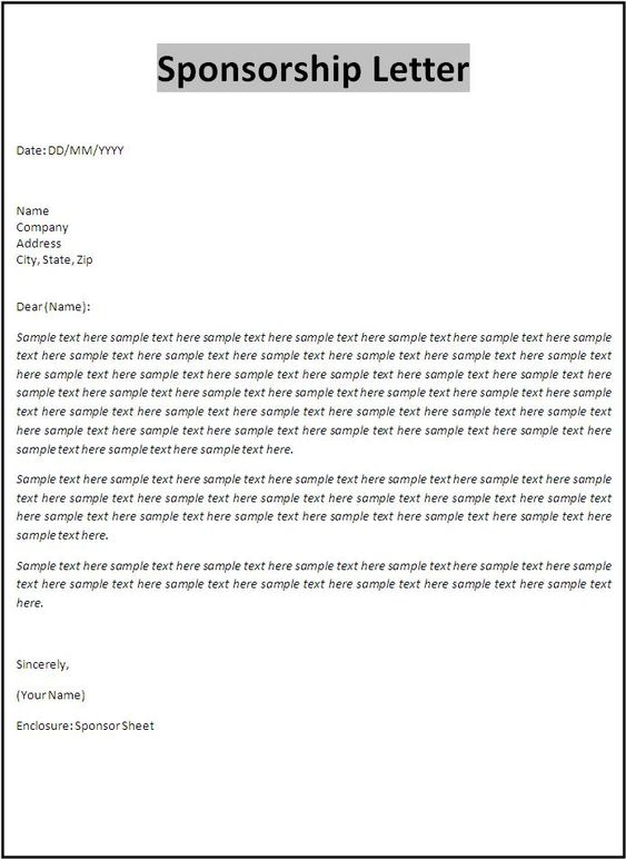 Sponsorship Letter Template Documents Pinterest – Sponsorship Letter Template