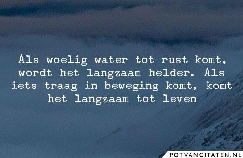 Als woelig water tot rust komt, wordt het langzaam helder. Als iets traag in beweging komt, komt het langzaam tot leven