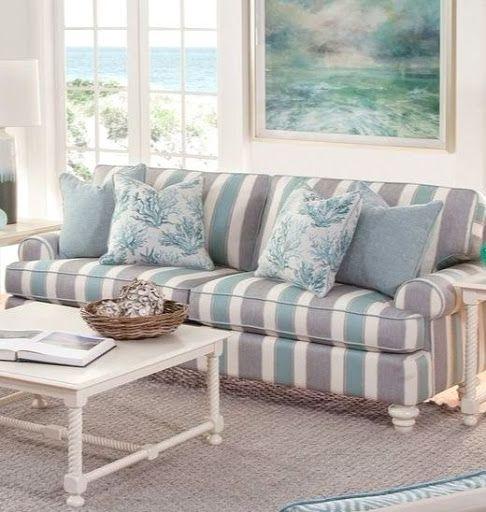 Striped Sofa Ideas For A Coastal Nautical Beach Style Living Room Design Coastal Style Living Room Striped Sofa Braxton Culler