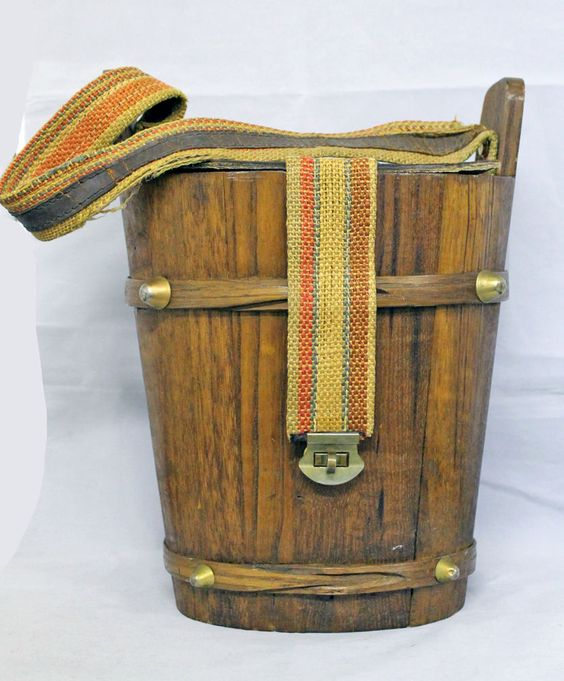 Antique Vintage Wood Cloth Lined Lunch Box Pail Purse with Saddle Leather Strap