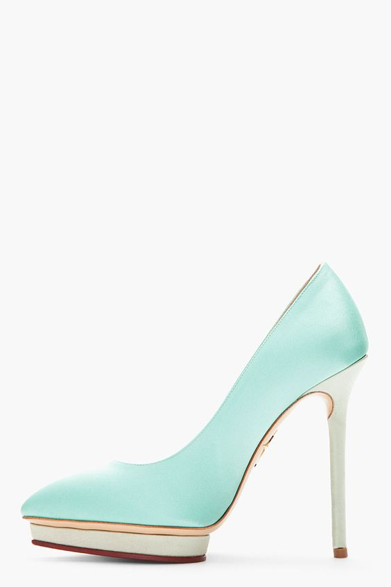 Charlotte Olympia satin court shoes, pumps, mint green