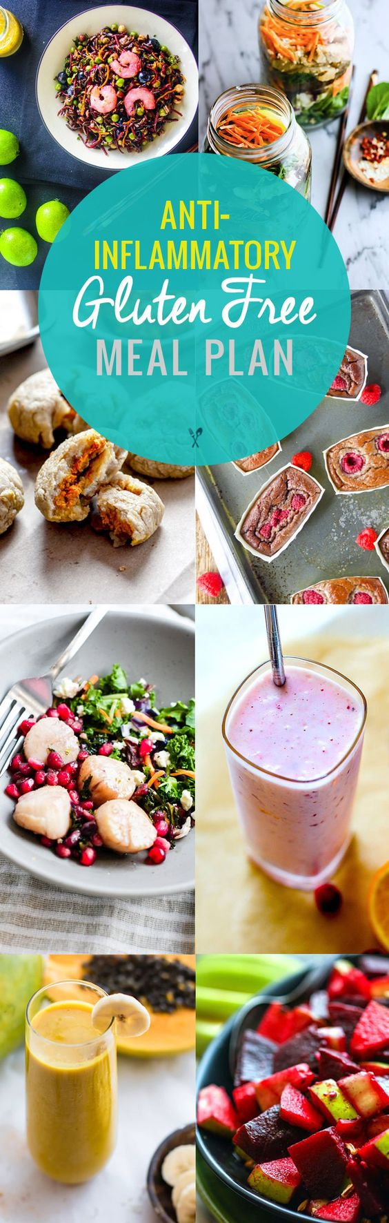 Food plays an key role in reducing inflammation in the body! Here's a gluten free and grain free meal plan full of recipes that are not only delicious, but also include foods that are known for their anti-inflammatory properties. @cottercrunch
