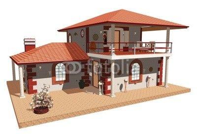 Casa con Terrazza Aperta-Home with Terrace-3d © bluedarkat
