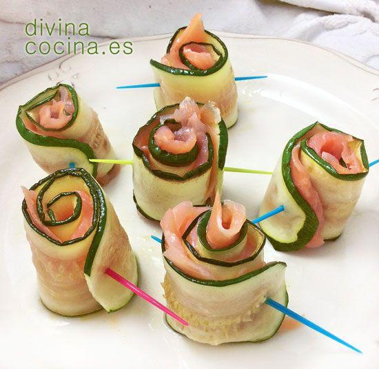 Estos rollitos de calabac n y salm n ahumado son un - Aperitivos de salmon ahumado ...