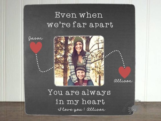 Personalized Boyfriend picture frame Long Distance Relationship Gift Ideas Long Distnce Boyfriend Gift Even When We're Far Apart by itsybitsyframeshop on Etsy https://www.etsy.com/listing/464639349/personalized-boyfriend-picture-frame