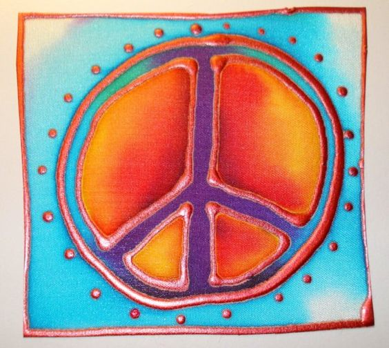 peace sign hand painted silk card by TamlinSky on Etsy, $5.50