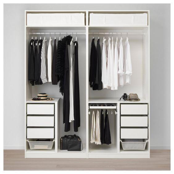 Ikea Pax Wardrobe White Hamnas Black Blue Armoire Penderie