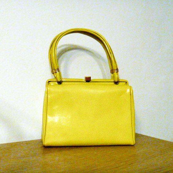 Vintage Box Purse Genuine Patent Leather Chartreuse. $54.00, via Etsy.