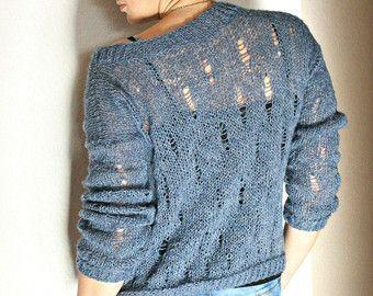 Teal blue grunge sweater / loose knit approx 2 left in por ileaiye