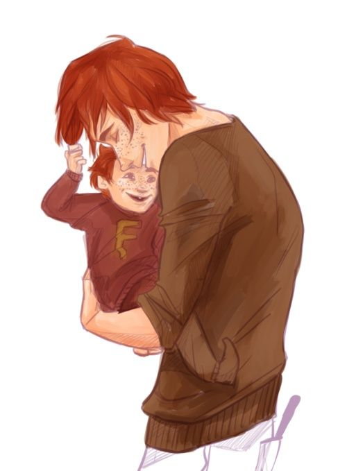 harry potter fan art: george weasley with his son freddie. He put his wand in his back pocket. If Mad-Eye was there he'd yell at him and say he could loose his buttocks.: