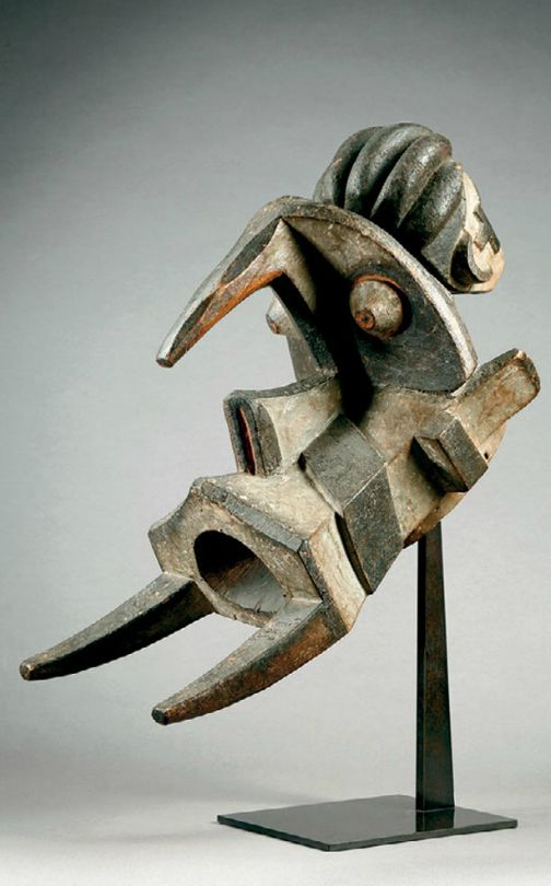 Africa | Helmet mask from the Izi people of Nigeria | Wood, kaolin and black paint