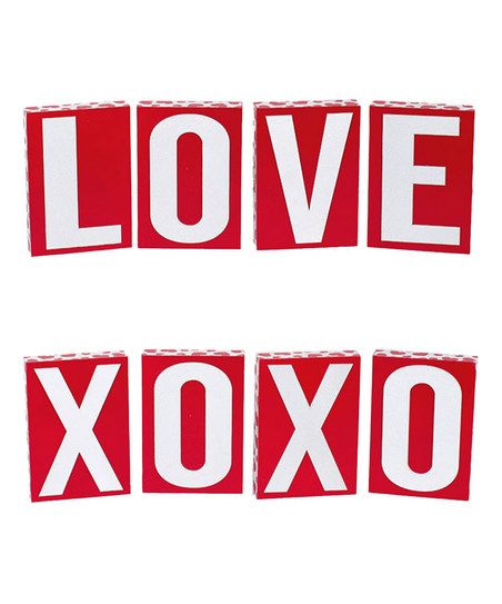 Adams & Co. Red Wood Love Block Sign Set   zulily