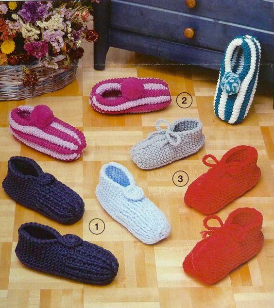 Knitting Patterns For Slippers Phentex : Vintage Phentex Knitting Pattern for Slippers / Pantoufles Vintage, Knittin...