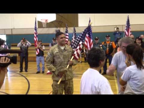[VIDEO] Soldier, Along with Huge Group of Supporters, Bursts Into Daughter's Gym Class to Surprise Her  |  SPC Guptill had not seen his daughter in 2 years and surprised her during gym class… followed by a huge group of military supporters!