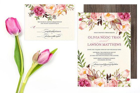 Floral Wedding Invitation Set - Do-It-Yourself - Printable -  Pink Peonies Roses - Flower Wedding Invitations - Rustic Bohemian - Olivia