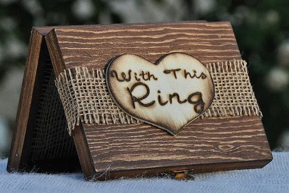 Personalized Ring Bearer Box -Rustic Wedding -Ring Bearer Pillow Alternative