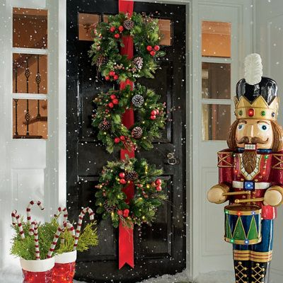 Grandinrod Christmas 2020 Hadley Holiday Cordless 3 Wreaths on Ribbon   Grandin Road in 2020
