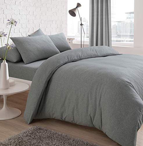Sleepdown Jersey Melange Duvet Set Easy Care Non Iron Plain Yarn