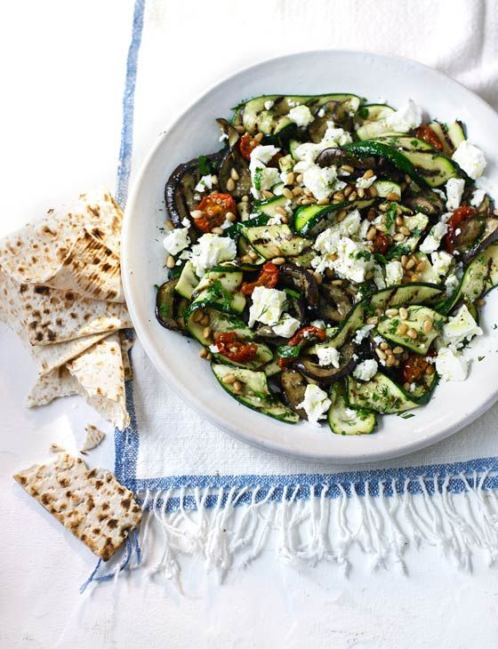 Aubergine, courgette and feta salad - Vegetarian and gluten free