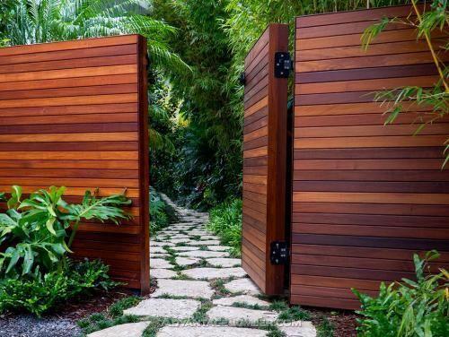 1 X 4 Horizontal Clear Redwood Wood Gate Modern Fence Design Garden Wall Decor