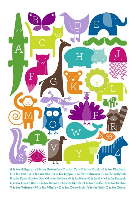 one of the cutest alphabet animal prints i've seen in a while