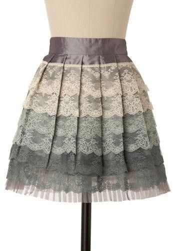 Gorgeous gray ombre tiered laced skirt. im in love!! i love lace! :)