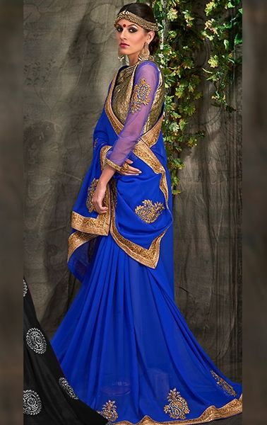 Picture of Flamboyant Blue Chiffon Ethnic Saree