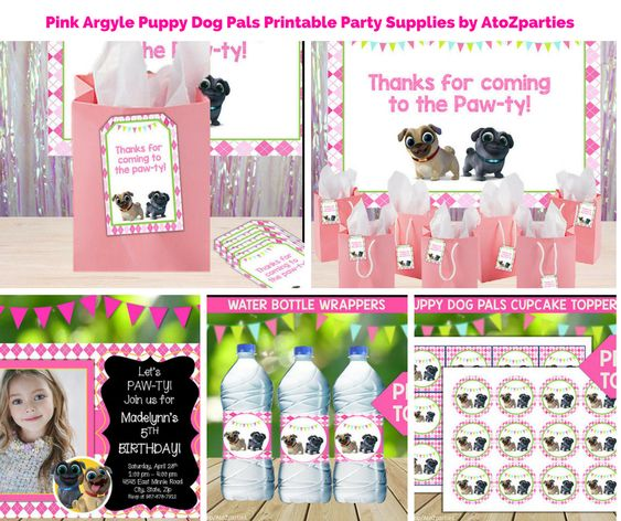 Pink Argyle Puppy Dog Pals Printable Party Supplies By Atozparties