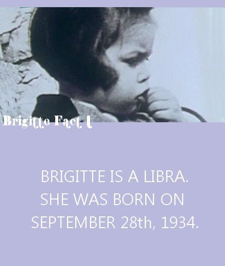 """Happy Birthday Brigitte!Bon Anniversaire Brigitte! Today September 28th, Miss Bardot turns 77! Moreover, the """"Fondation Brigitte Bardot"""" celebrates its 25th birthday today too! Keep up the good work :) PS: I will now regularly post """"Brigitte Bardot Facts"""", after seeing similar Tumblrs on Audrey Hepburn and Marilyn Monroe I thought Miss Brigitte deserved this too ;)"""
