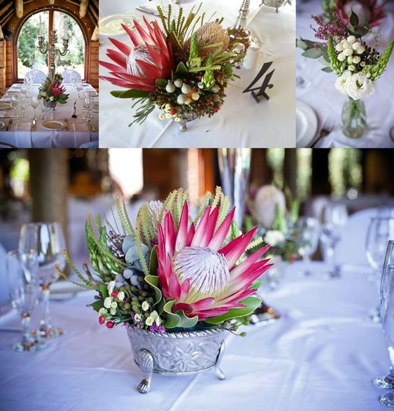 7 Gorgeous Wedding Altar Decorations That Aren T Any: Protea Table Arrangement Without Roses