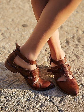 Duvall Flat | Made with the finest Spanish leather, this strappy flat features a pointed toe.  Padded footbed for extra comfort and support.    *By Free People