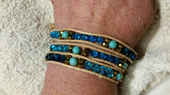 Check out this item in my Etsy shop https://www.etsy.com/listing/245142301/turquoise-leather-wrap-bracelet-ombre