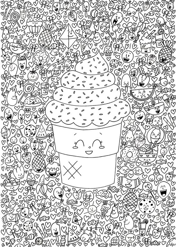 Jon Burgerman Coloring Pages further Cute Food With Faces Drawings ...