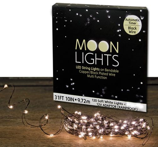 Check out the deal on Electric LED Moon Lights with 120 Soft White Lights 30 Feet - Black Wire Multi Function at Battery Operated Candles
