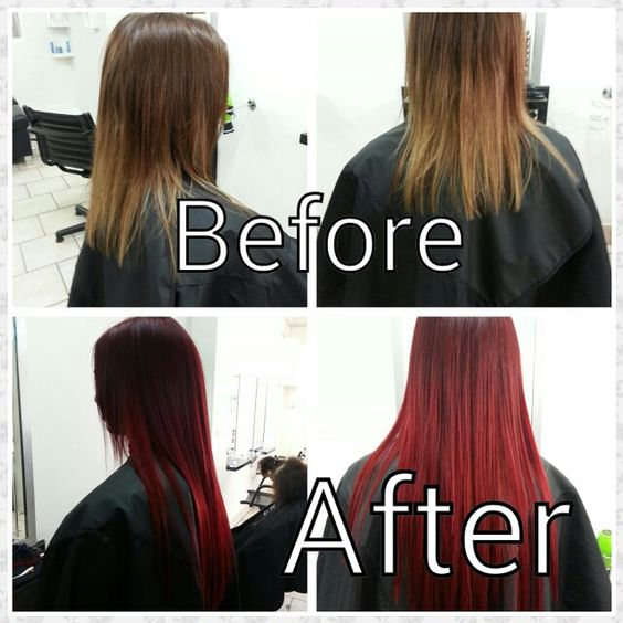 Before and after red