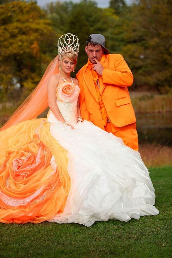 Orange is the new white in wedding dresses - NO ITS NOT!