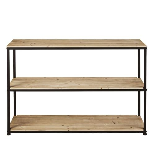 Solid Fir And Black Metal Console In 2020 Industrial Console