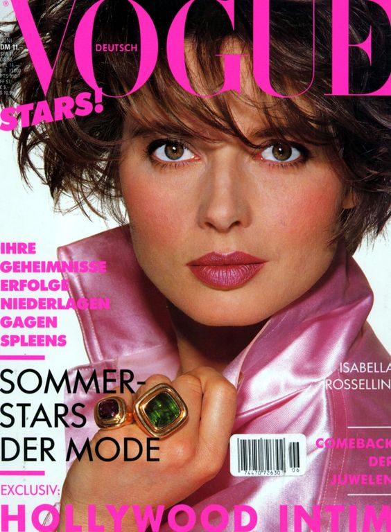 Isabella Rossellini covers Vogue magazine cover( Germany ...