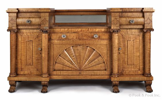 "Lancaster, Pennsylvania Empire tiger maple sideboard, ca. 1825, made by Andrew Snowberger for the Snowhill Cloister in Greencastle, 49"" x 86"". Illustrated and discussed in Boor, Philadelphia Empire Furniture, pg. 415, fig. 265."